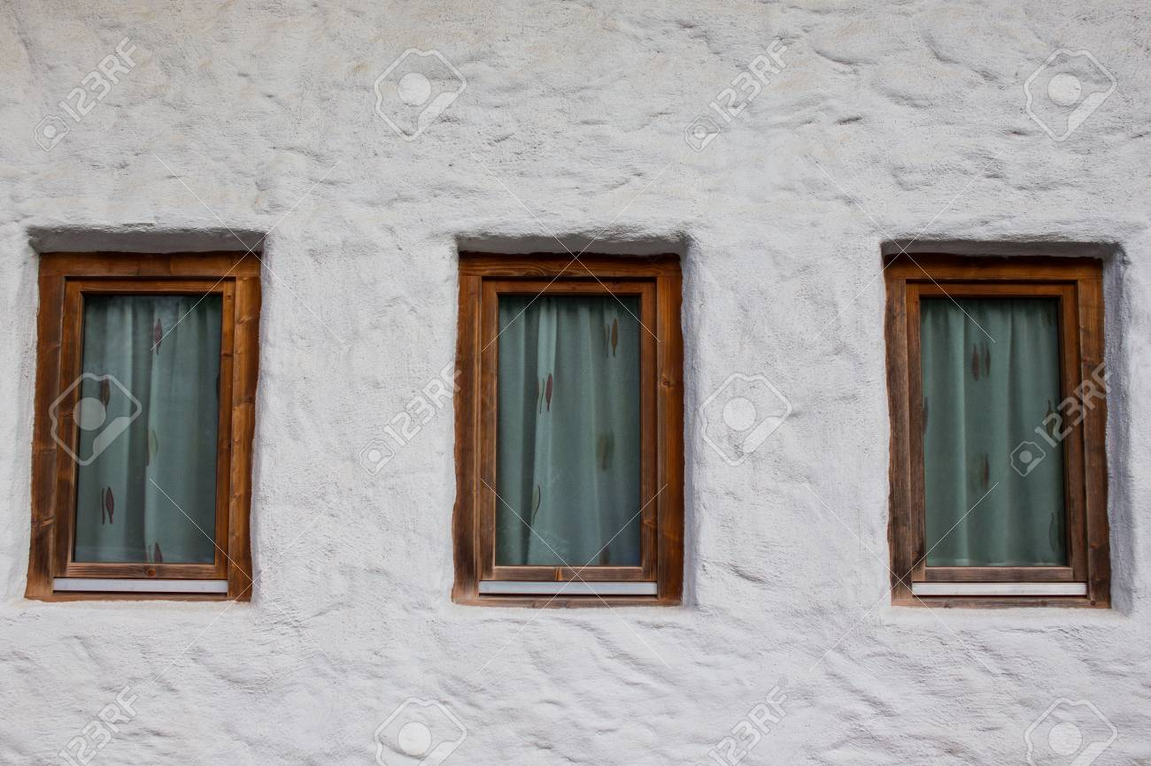 Three Old Style Windows With Wooden Frames Stock Photo, Picture And ...