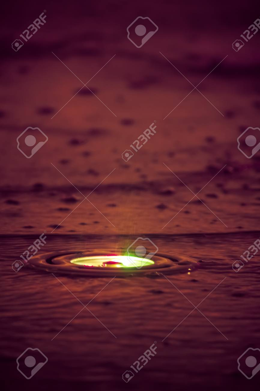 colorful light and dust stand on the raining situation Stock Photo - 13764134