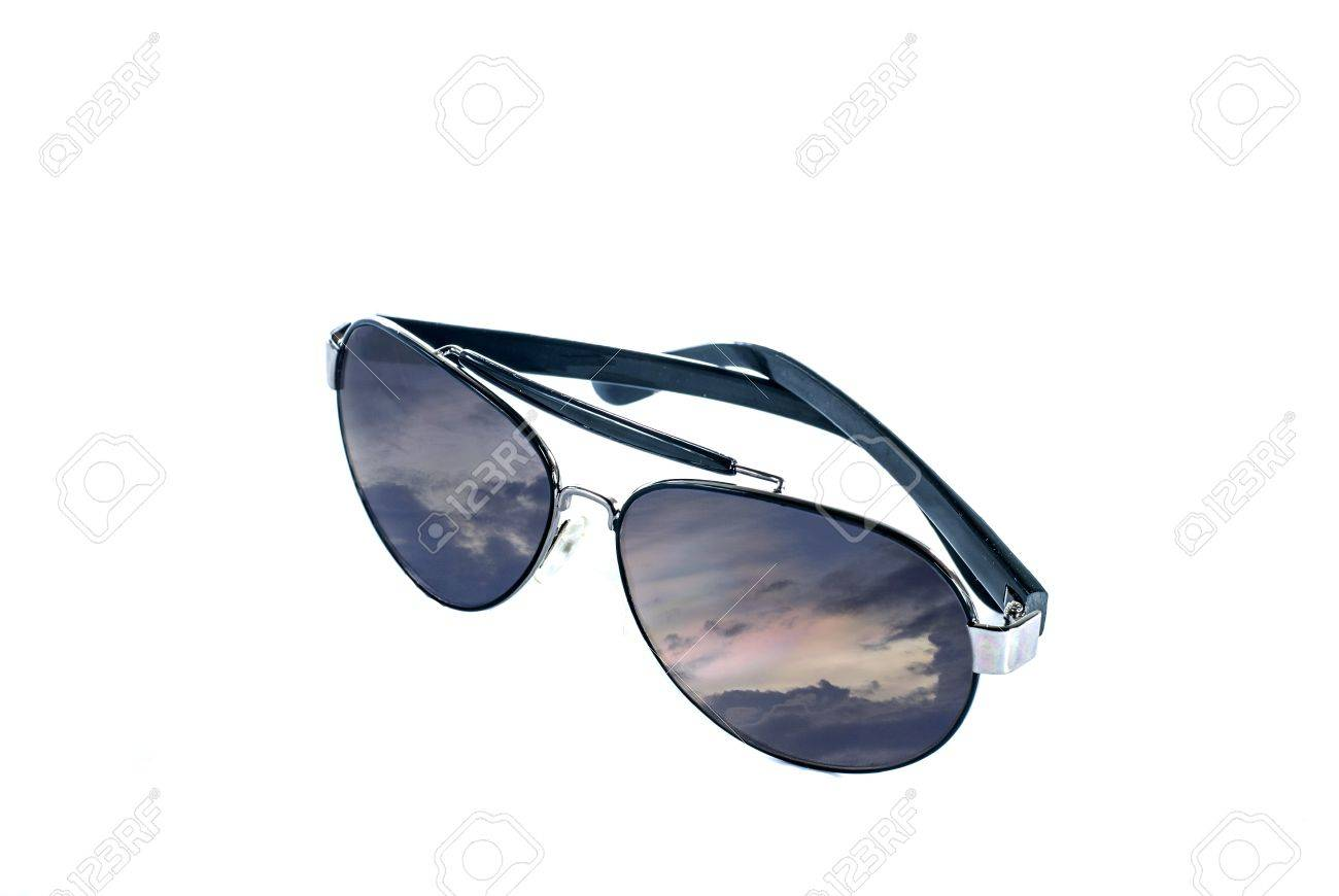 Sunglasses with colorful storming reflection - Aviator Sunglasses - sunglasses isolated on a white background Stock Photo - 14593688