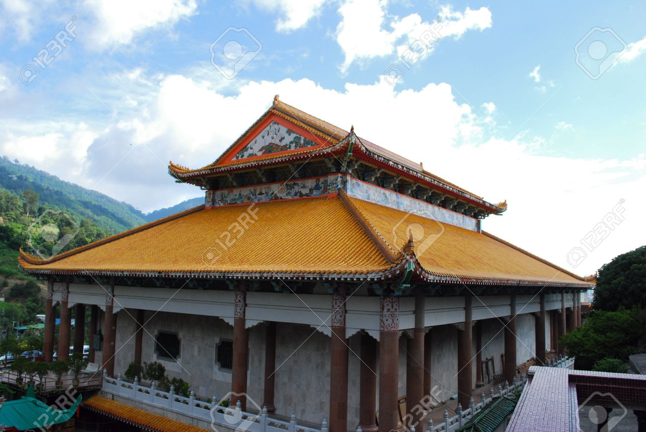 chinese house against blue sky and clouds the model of ancient