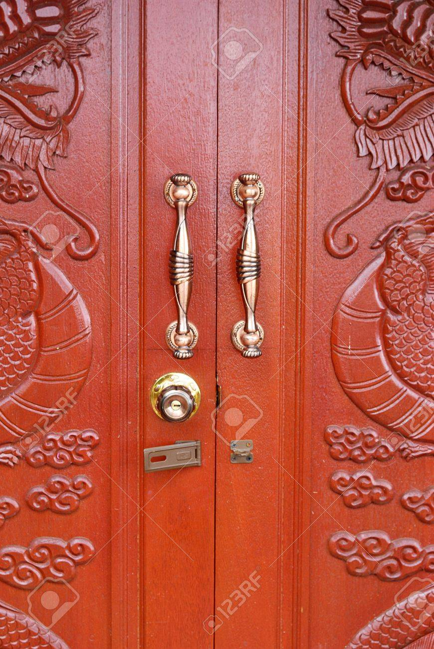 Doors with dragon pattern and handles - wood door - Wooden door texture background - ancient & Doors With Dragon Pattern And Handles - Wood Door - Wooden Door ...