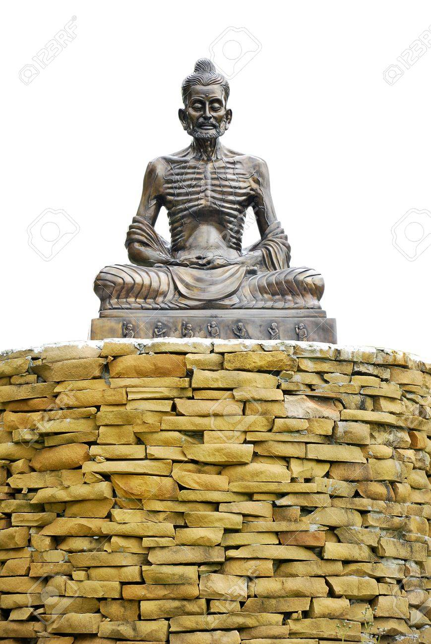 Skeleton Ascetic Statue Sit On The Wall Brick With White Background ...