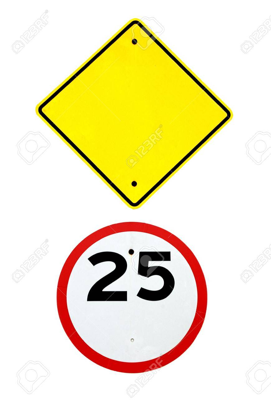 empty blank sign template and speed limit road sign on white stock