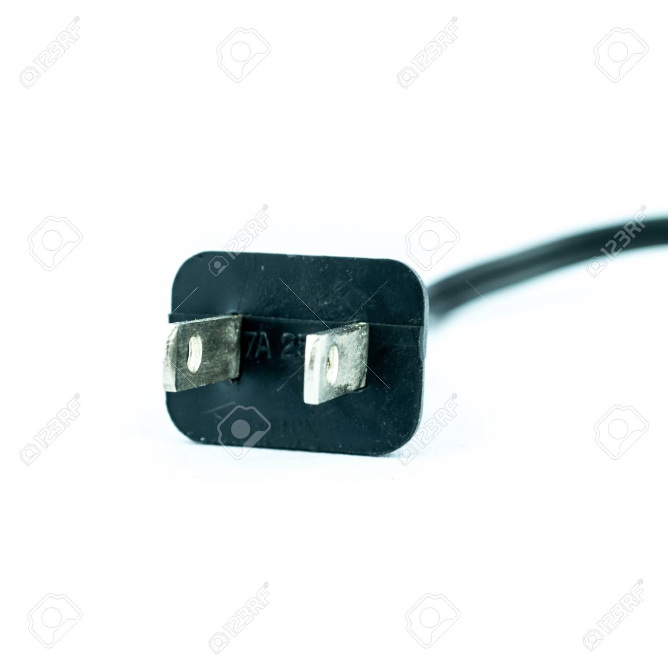 Electric plug - power plug - Black electric cable isolated on white Stock Photo - 20366371