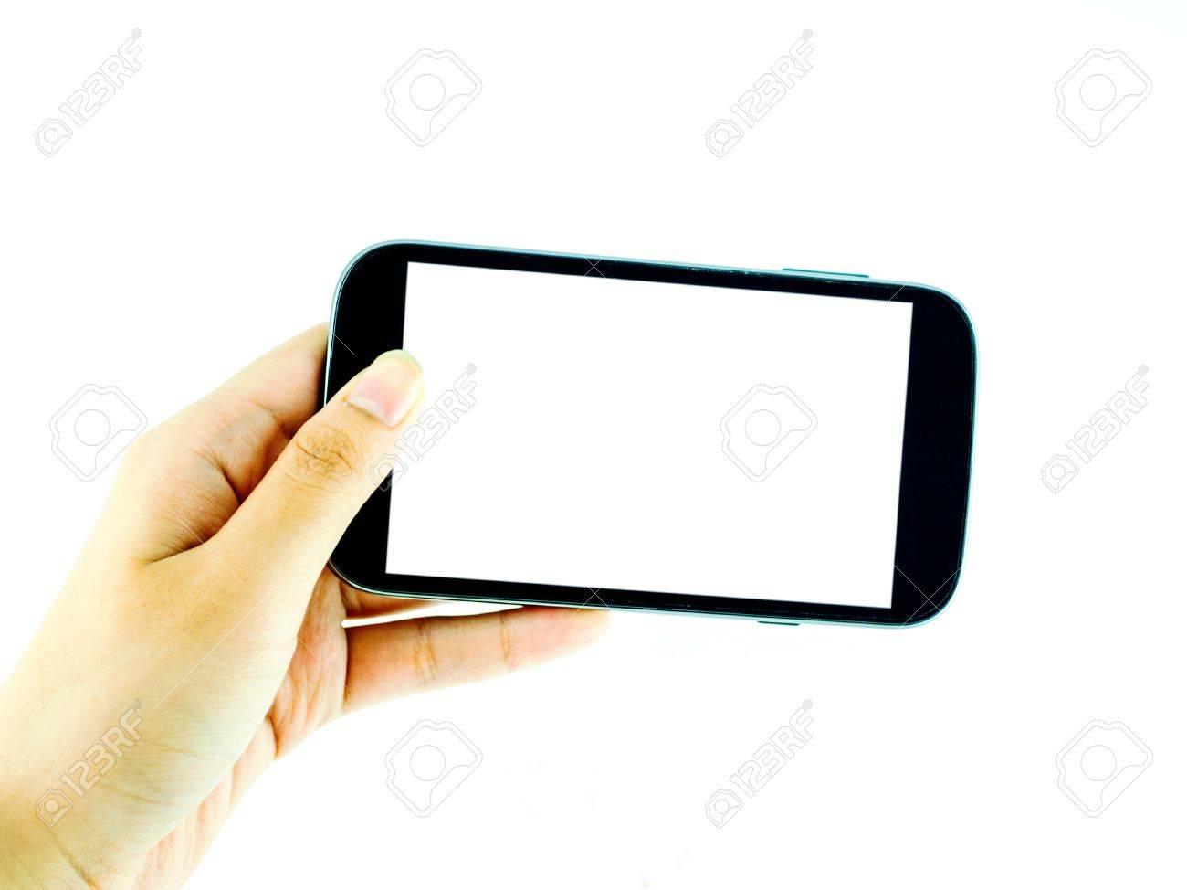 Immagini Stock Telefono Cellulare Con Touchscreen In Mano