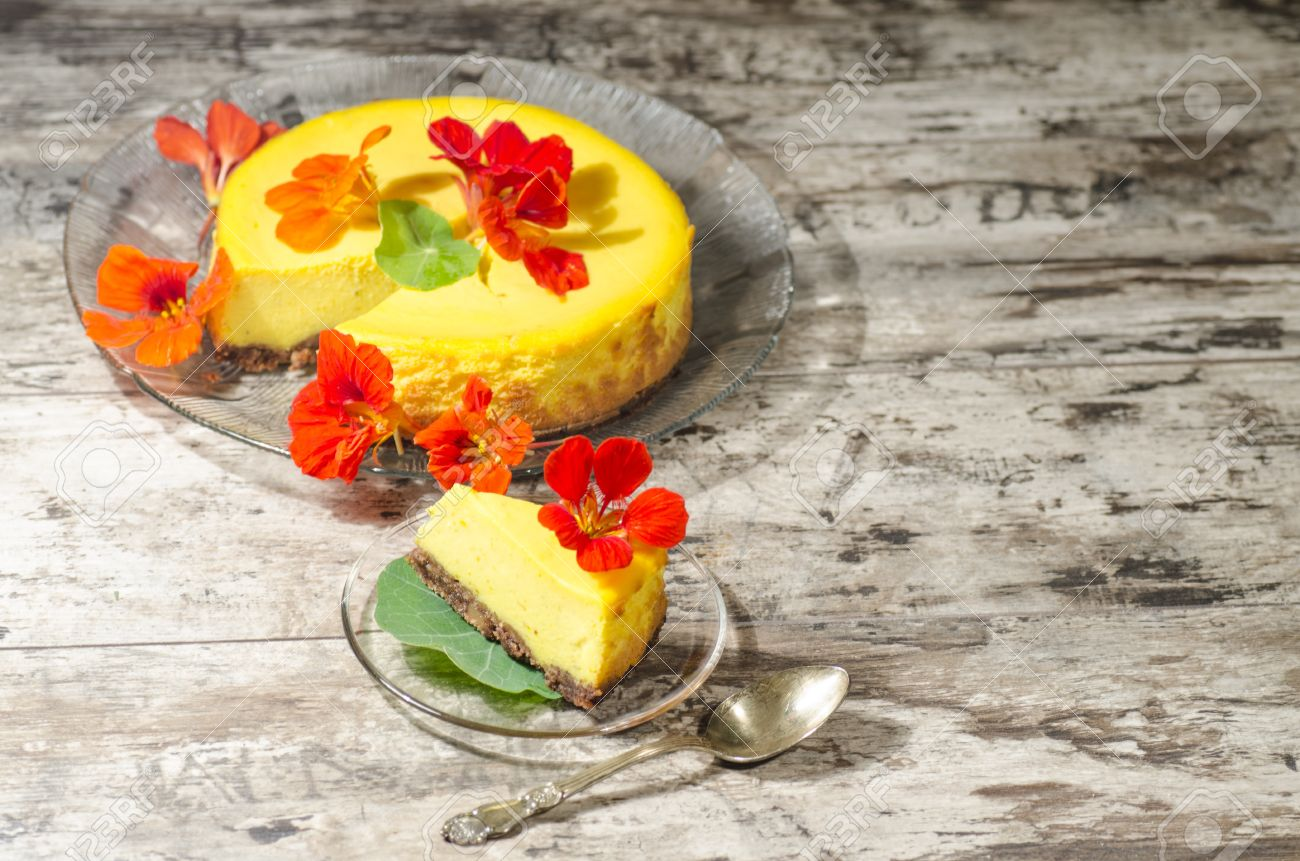 Pumpkin Cheesecake Decorated With Fresh Flowers. From The Series ...