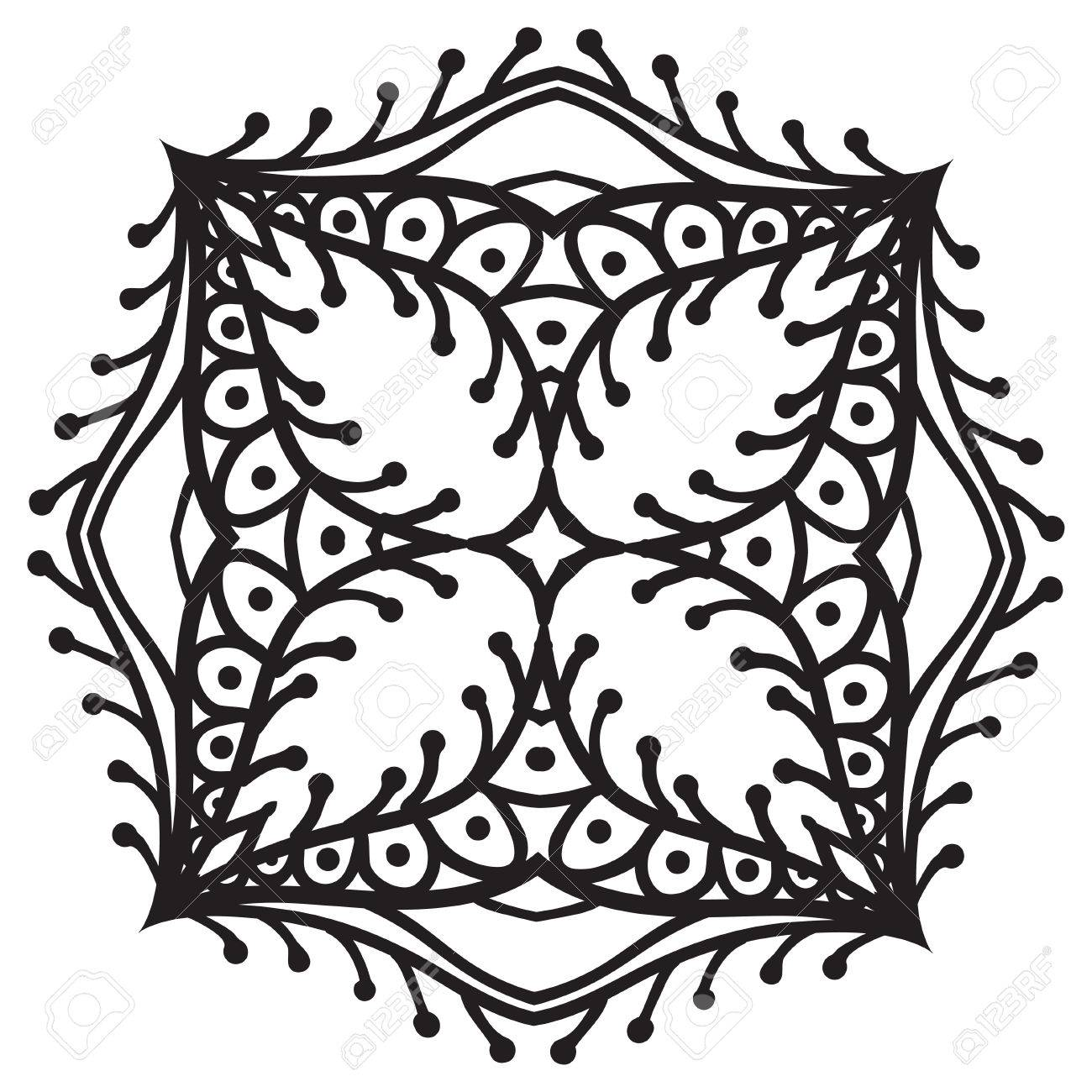 Hand Drawing Zentangle Element Black And White Flower Mandala