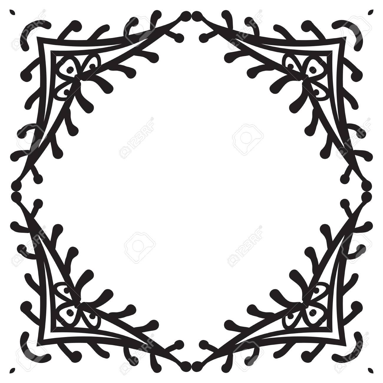 Handzeichnung Zentangle Dekorativen Rahmen. Schwarz Und Weiß. Blumen ...
