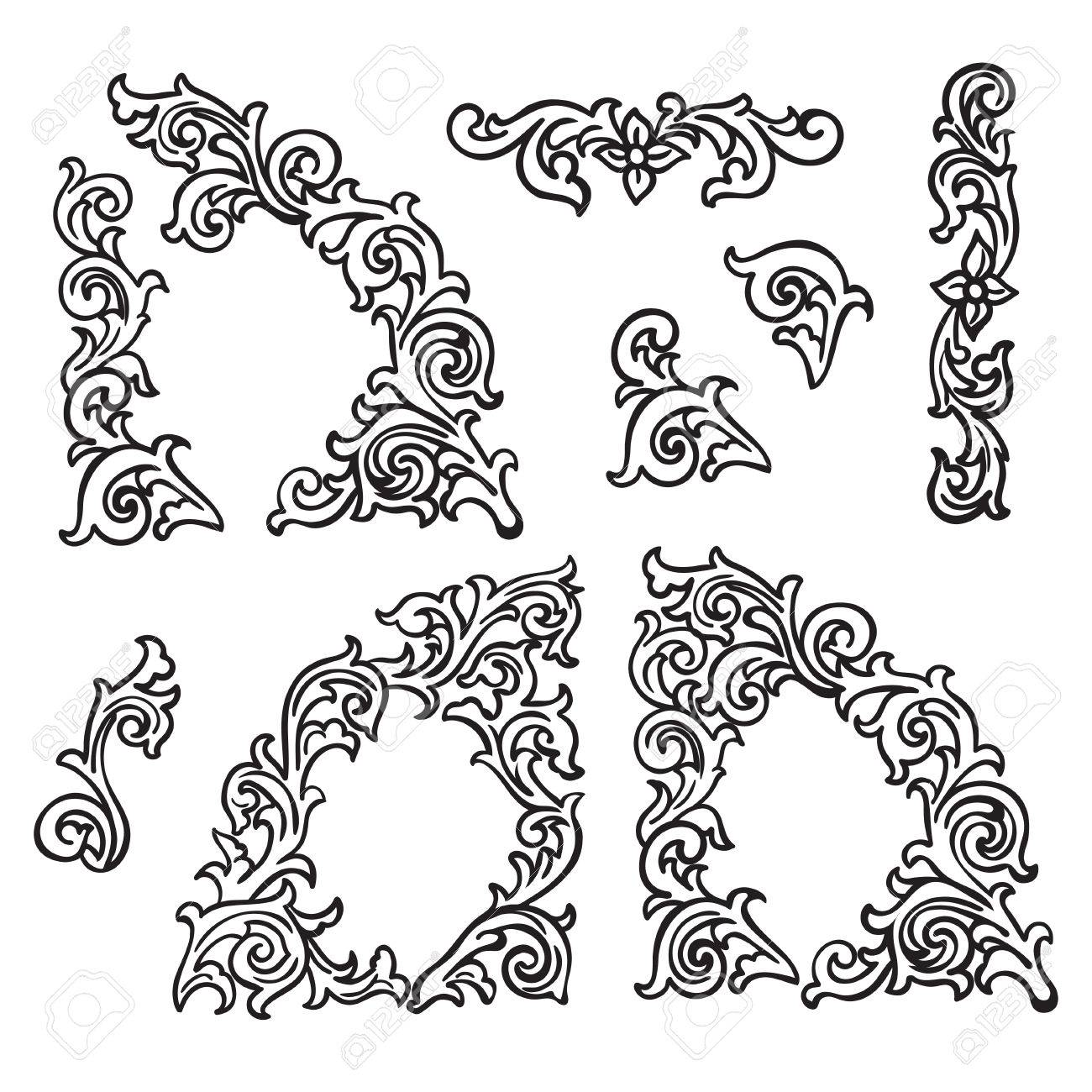 Set of Hand drawing ornamental decorative elements. Carving style Black and white The best for your design, textiles, posters, tattoos, corporate identity - 41976698