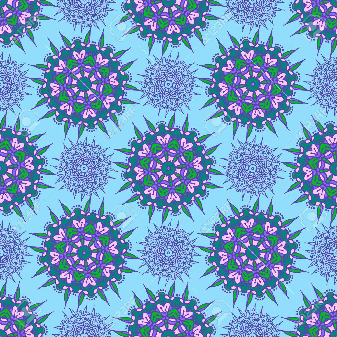 Dessin à La Main Zentangle Couleur Motif Sans Couture Mandala Fleur Illustration Vectorielle Meilleur Pour Votre Design Textiles Affiches Papier