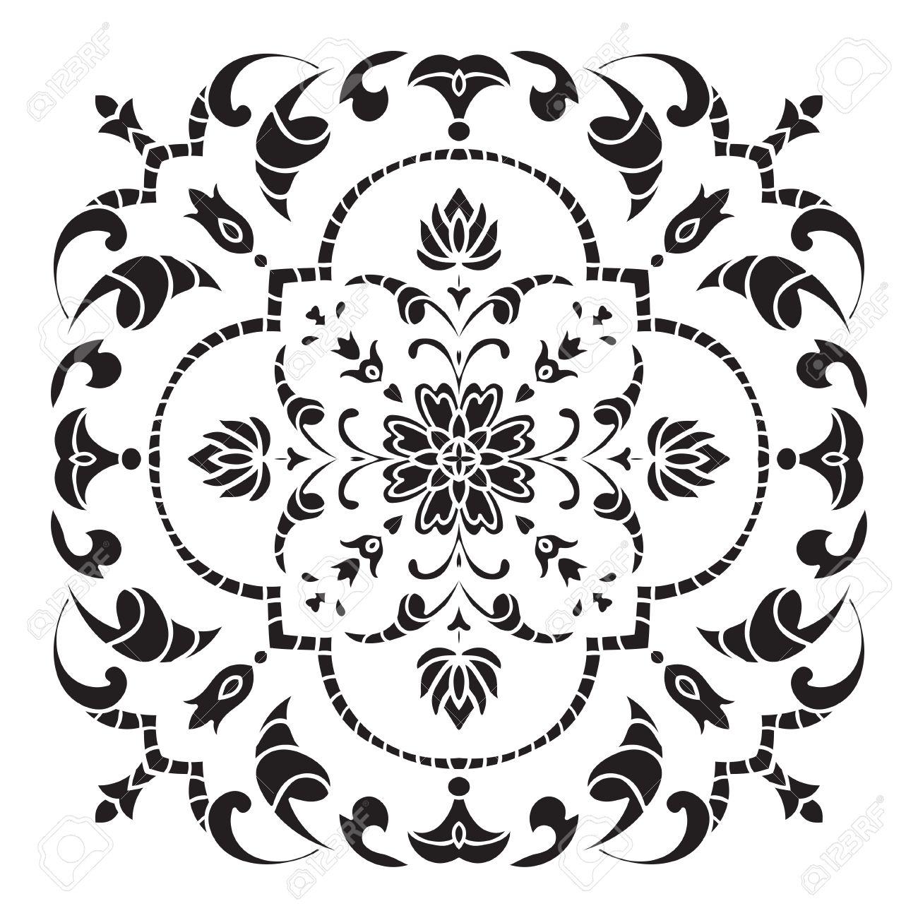 Hand Drawing Decorative Tile Pattern. Italian Majolica Style ...