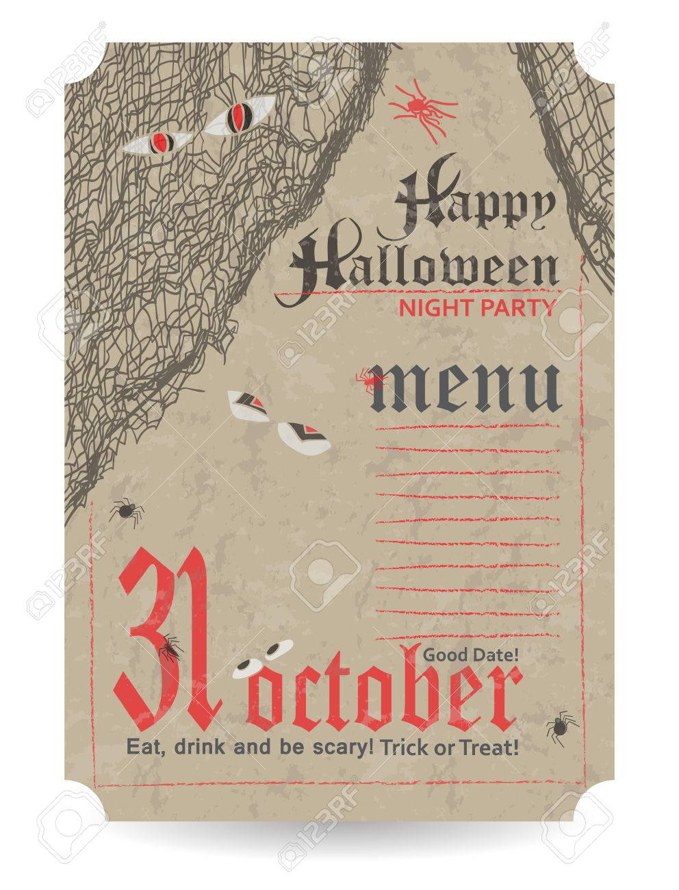 vintage menu to halloween party vector illustration royalty free