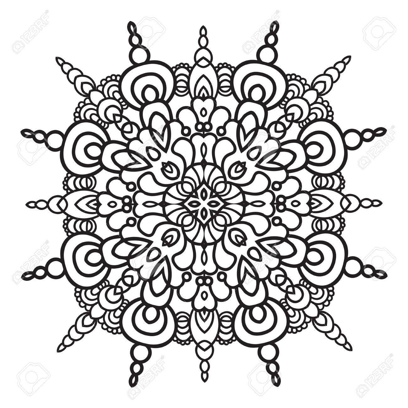 Main élément De Dessin Style De Majoliques Italiennes En Noir Et Blanc Mandala Fleur Vector Illustration