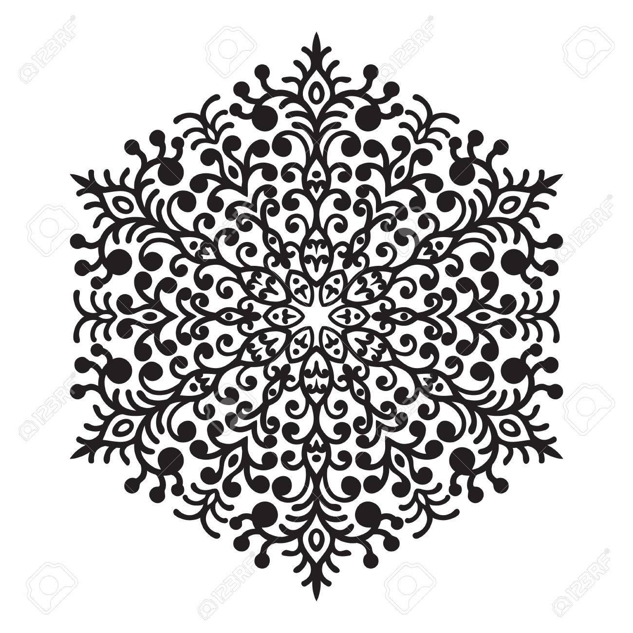 Dessin à Main Zentangle élément Noir Et Blanc Mandala Des Fleurs Illustration Vectorielle Le Meilleur Pour Votre Design Textiles Affiches