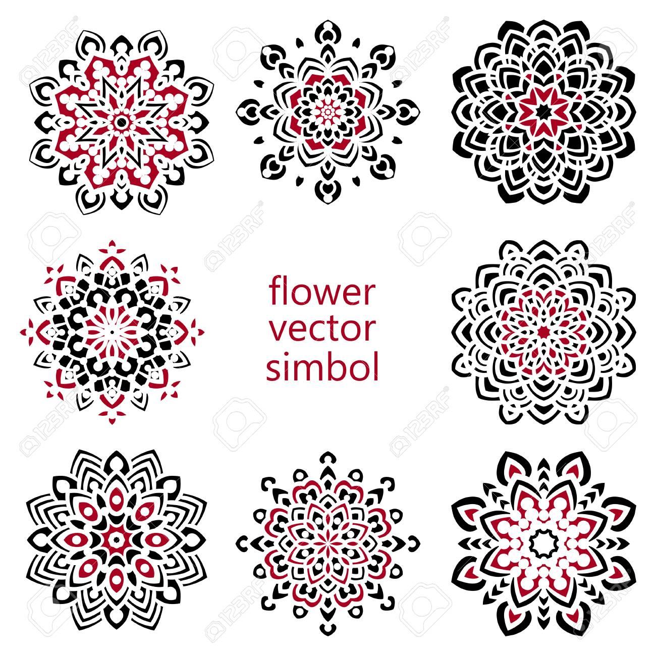 Ensemble De Dessin éléments Zentangle Main Noir Et Blanc Mandala Fleur Vector Illustration Le Meilleur Pour Votre Conception Textiles Affiches
