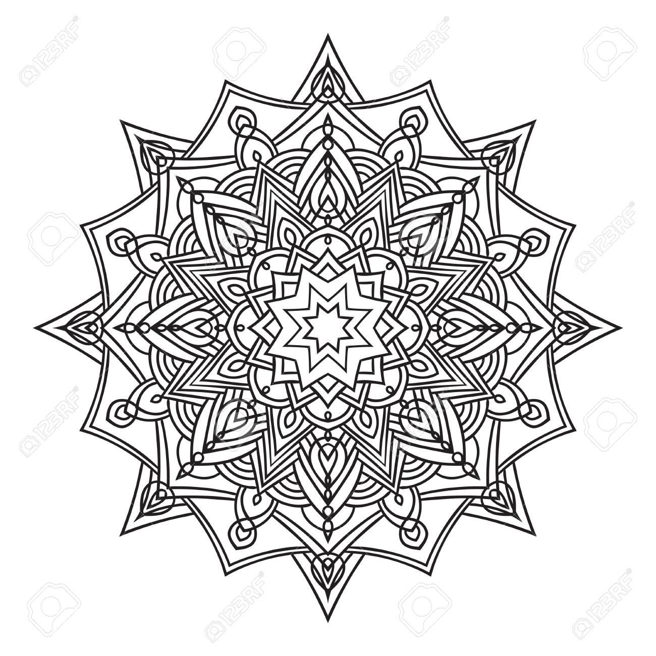 Main Dessin élément Fleuri Dans Le Style Oriental Noir Et Blanc Mandala De Fleur Illustration Vectorielle Le Meilleur Pour Votre Design Textiles