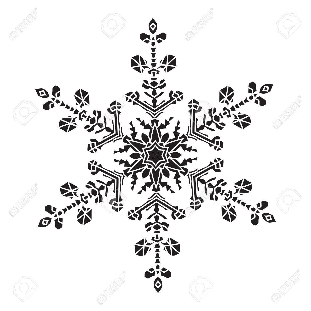 Dibujado A Mano Del Copo De Nieve Realista Silueta Negro Sobre