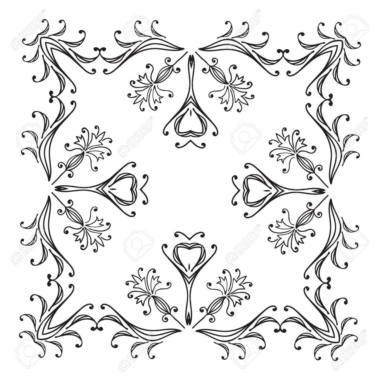 Cornici Disegno Bianco E Nero.Disegno A Mano Zentangle Cornice Decorativa Floreale Bianco E Nero Mandala Fiore Illustrazione Vettoriale Il Meglio Per Il Vostro Disegno