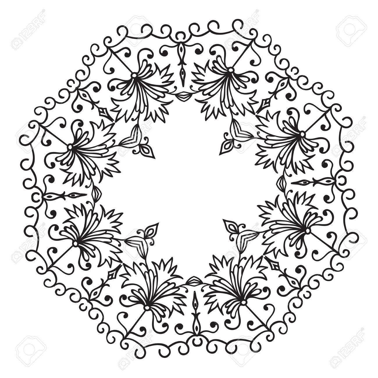 Hand drawing zentangle floral decorative frame black and white hand drawing zentangle floral decorative frame black and white flower mandala vector illustration mightylinksfo