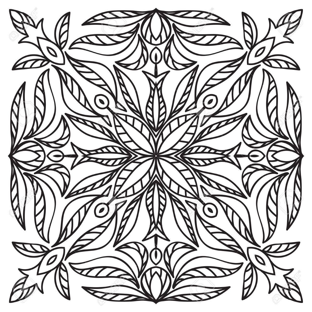 Main élément De Dessin Style De Majoliques Italiennes En Noir Et Blanc Mandala Fleur Vector Illustration Le Meilleur Pour Votre Conception