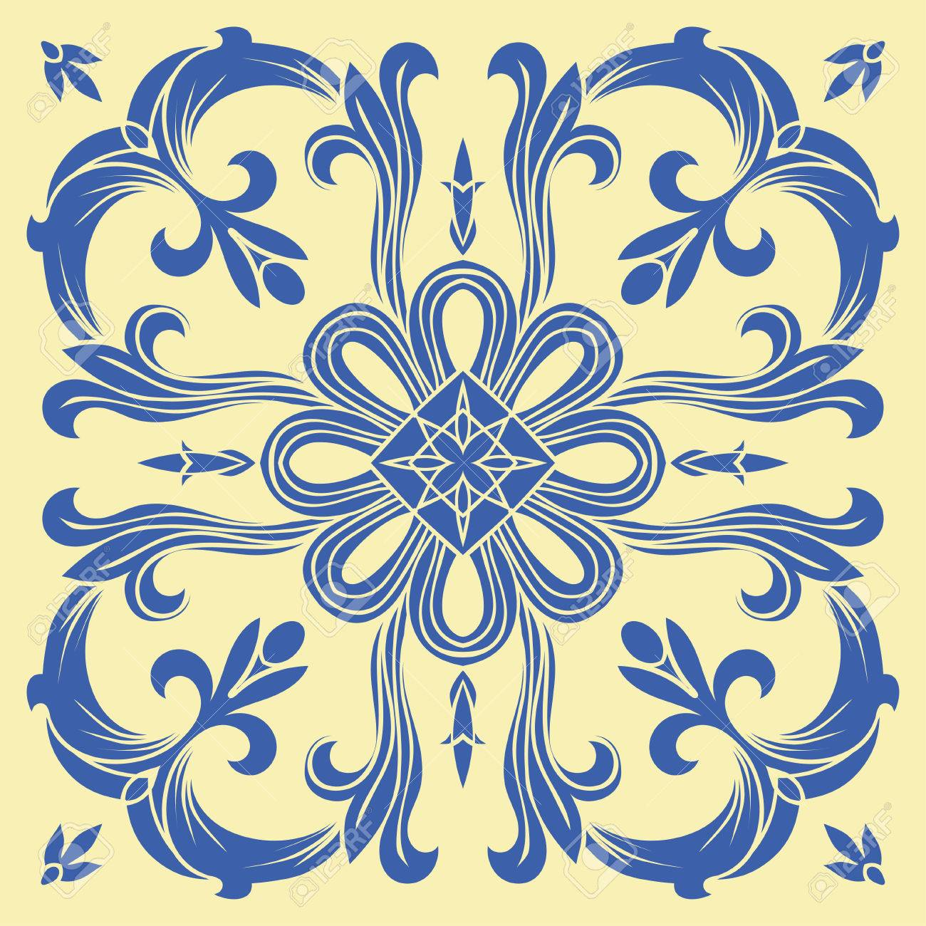 Hand Drawing Tile Pattern In Blue And Yellow Colors. Italian ...