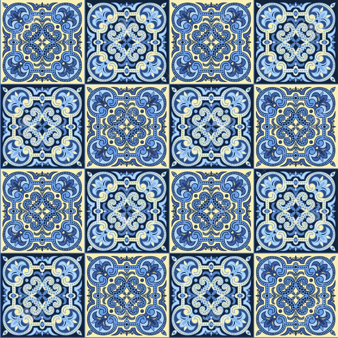 Dibujo A Mano Sin Fisuras Patron De Azulejos En Colores Azul Y - Azulejos-con-dibujos