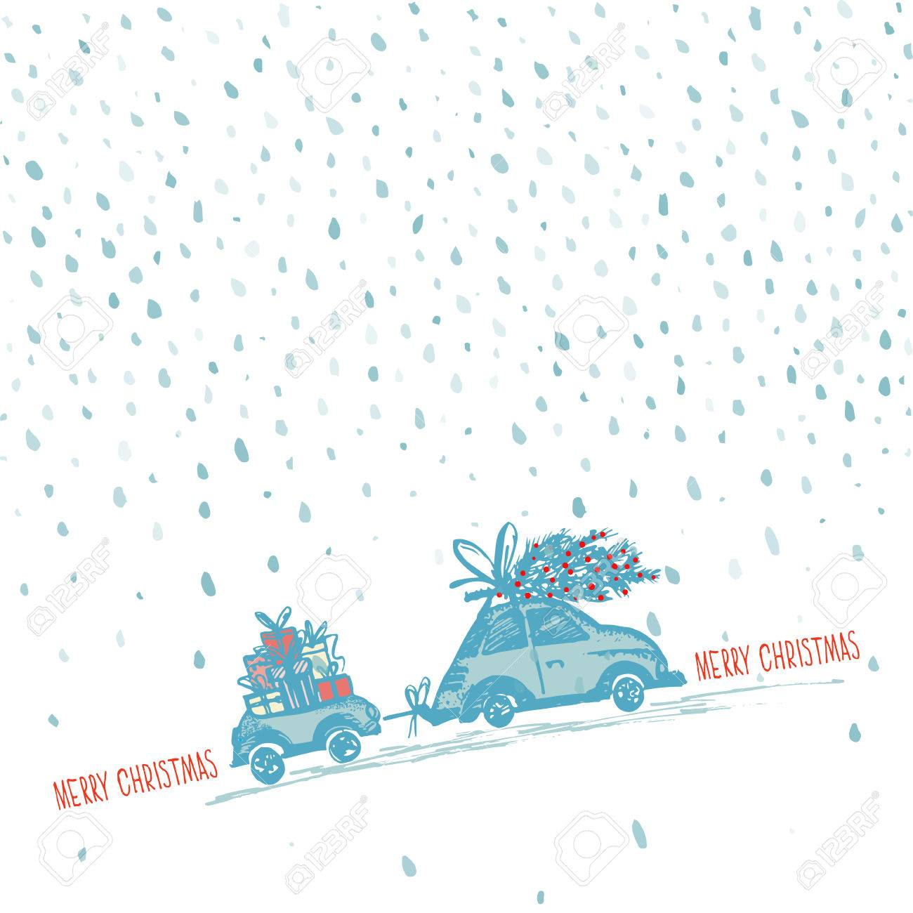 Greeting Card With Christmas Tree On Car Roof And Car Trailer ...