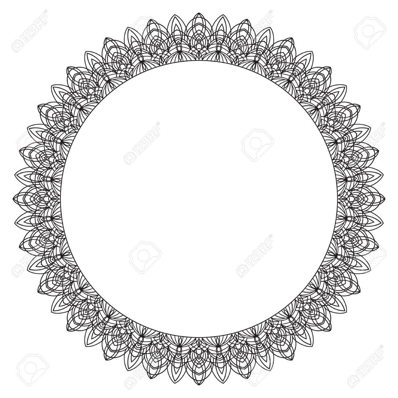 Cadre De Dessin à La Main Noir Et Blanc Fleur Mandala Vector Illustration Le Meilleur Pour Votre Conception Des Textiles Des Affiches Des