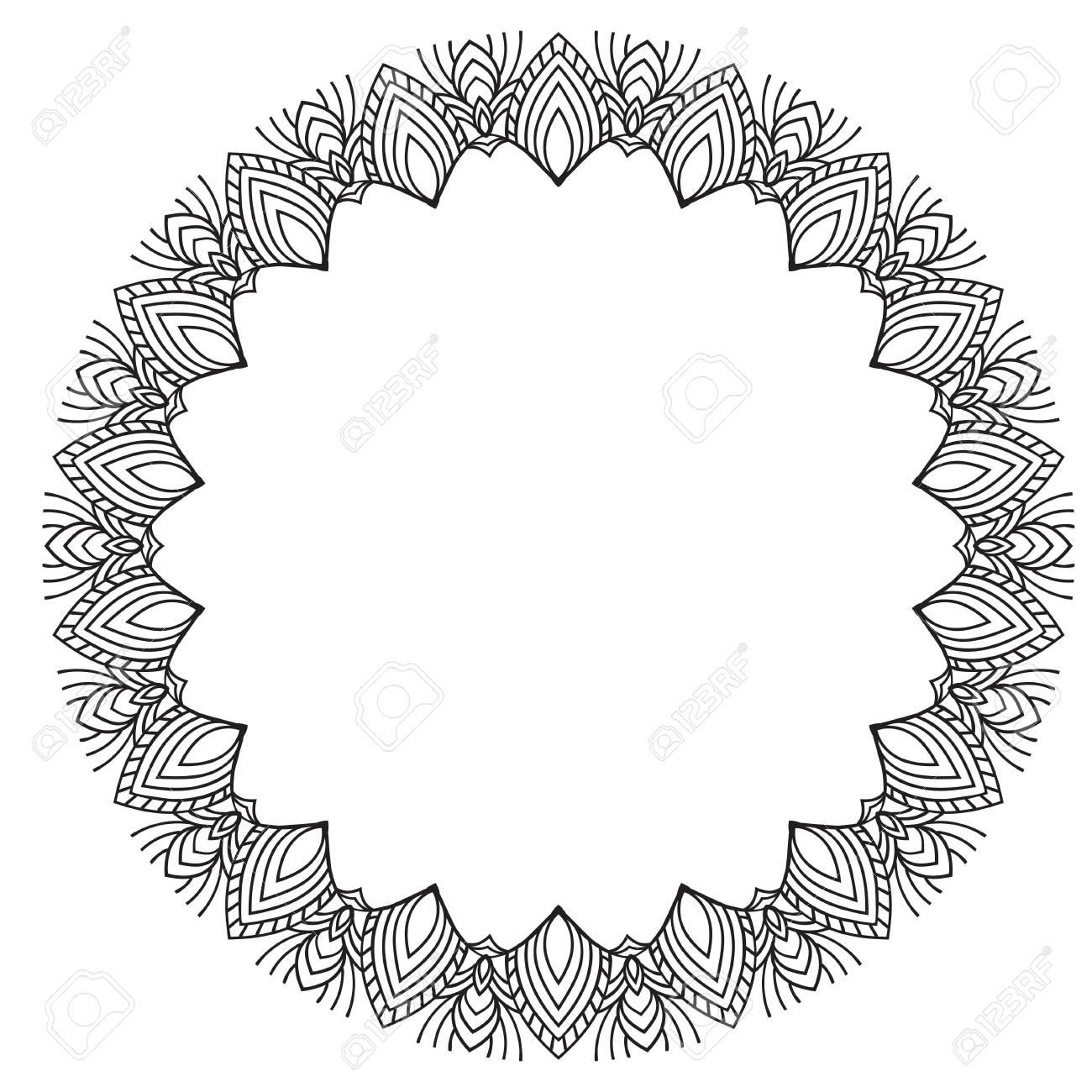 Cadre De Dessin A La Main Noir Et Blanc Fleur Mandala Vector