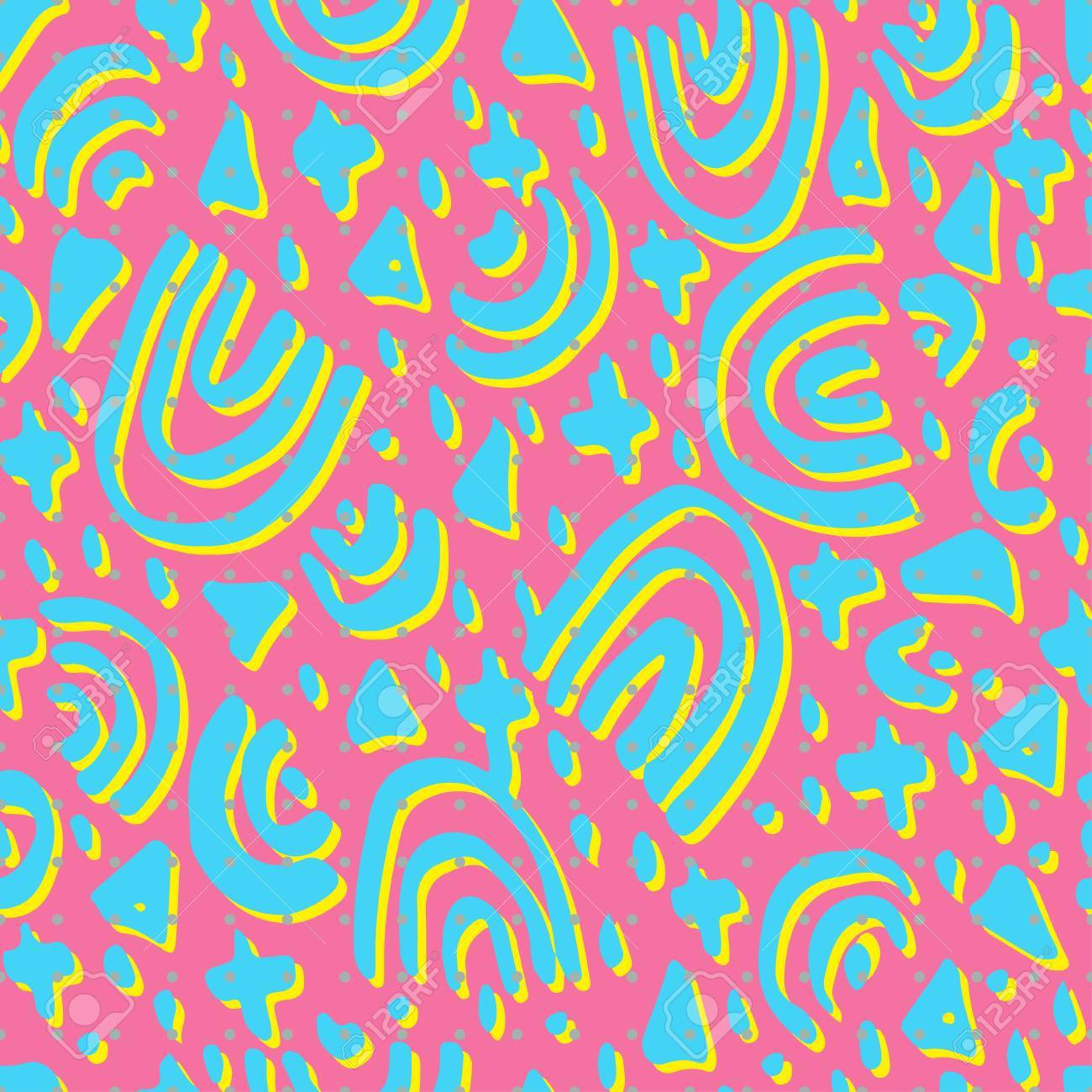swatches of memphis style patterns seamless background design