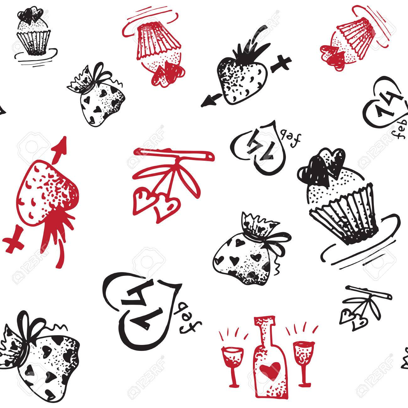 Retro Hand Drawn Sketches Seamless Background With Love Symbols