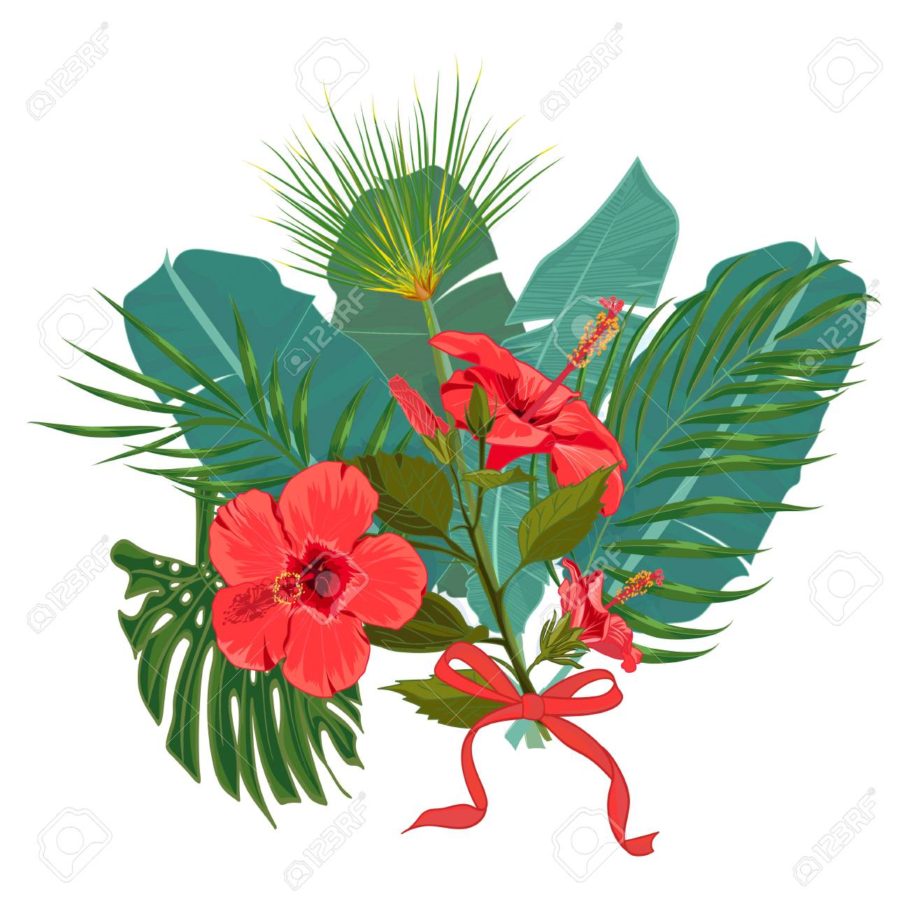 Hand Drawn Tropical Palm Leaves And Jungle Exotic Flower Bouquet ...