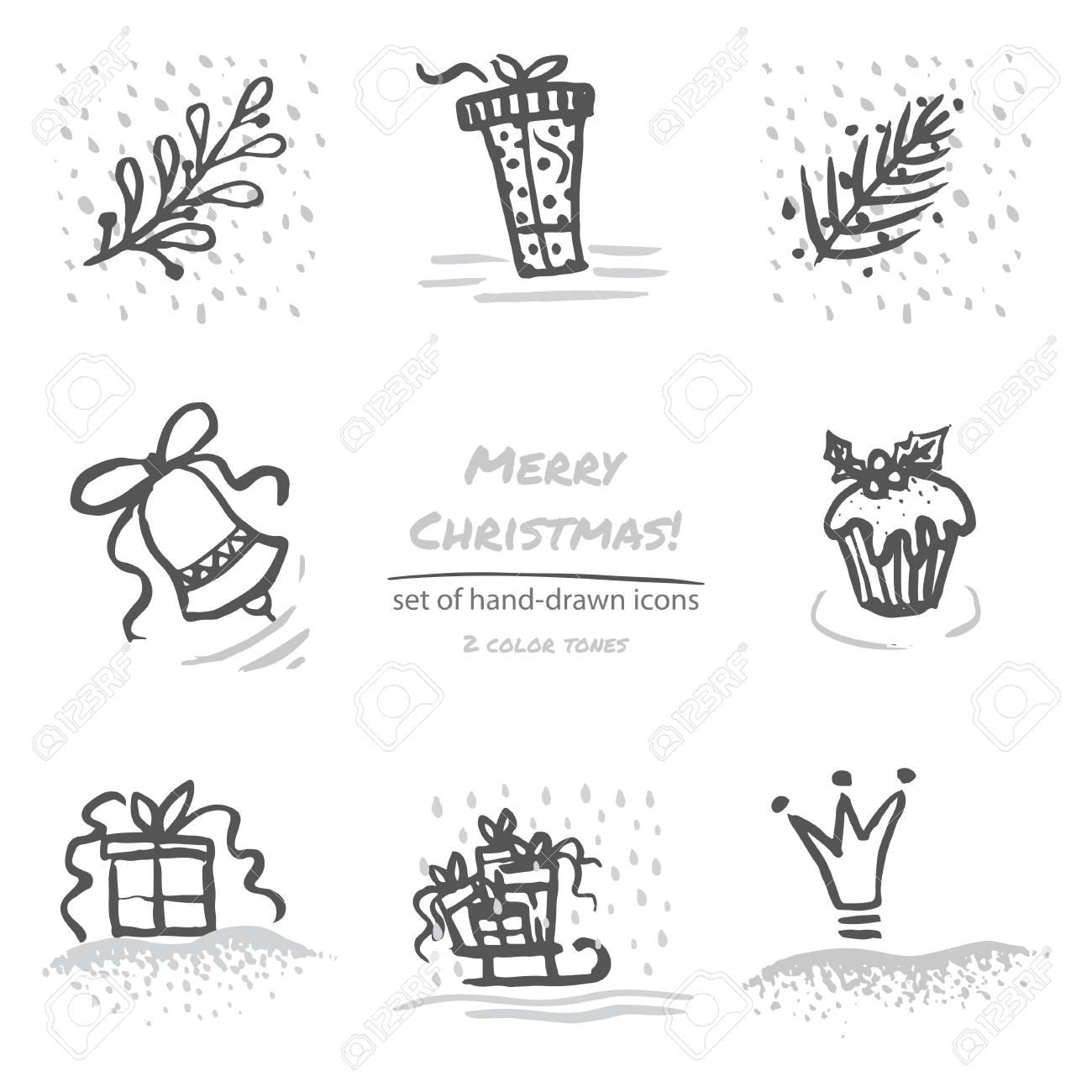 Weihnachten Hand Gezeichnet Skizze Symbole Auf Weißem Hintergrund ...