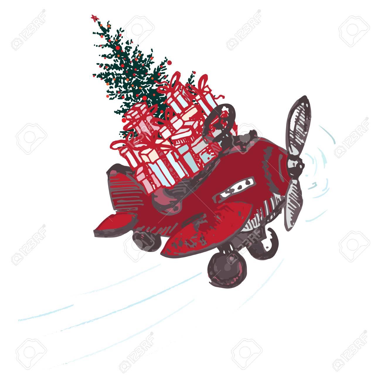 Carte De Noël Festive. Avion Rouge Avec Sapin Décoré De Boules