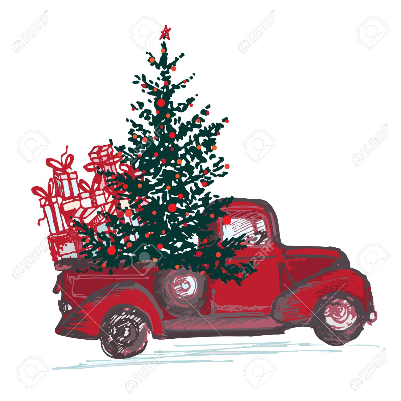 Christmas Red Truck.Festive New Year 2018 Card Red Truck With Fir Tree Decorated
