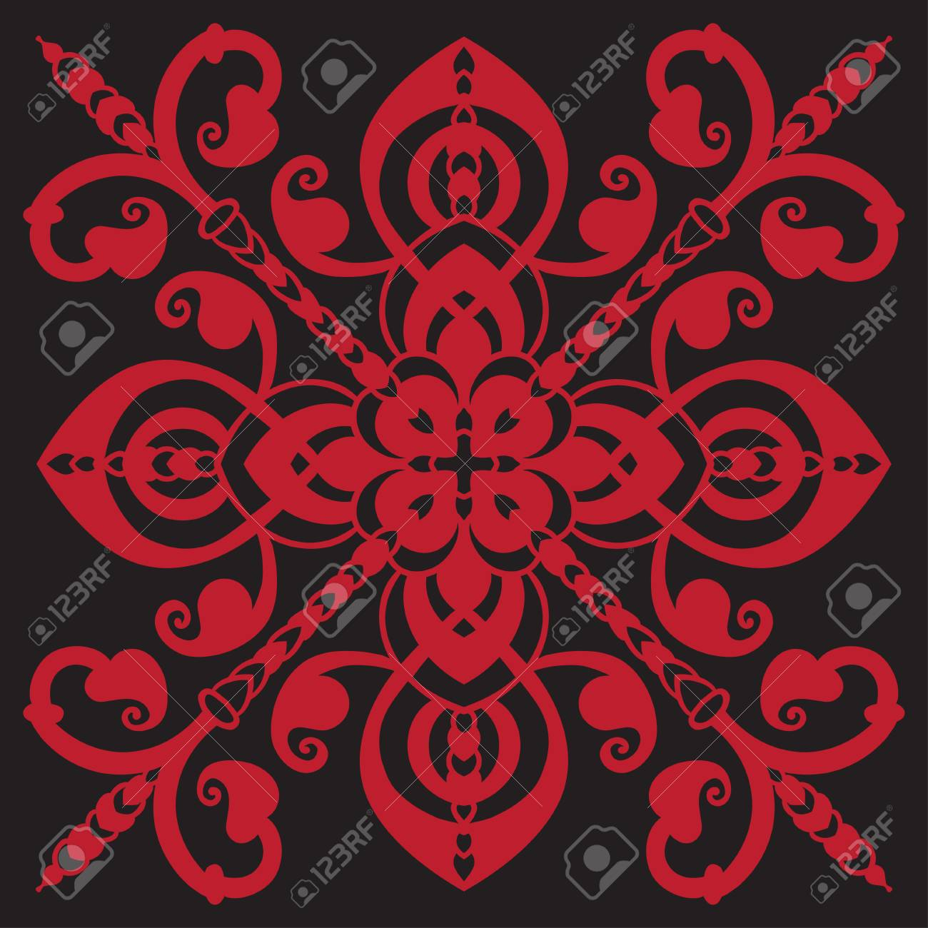 Dessin à La Main Pour Les Carreaux Dans Les Couleurs Noires Et Rouges Isolé Sur Le Style De Majolique Italienne De Fond Illustration Vectorielle Le