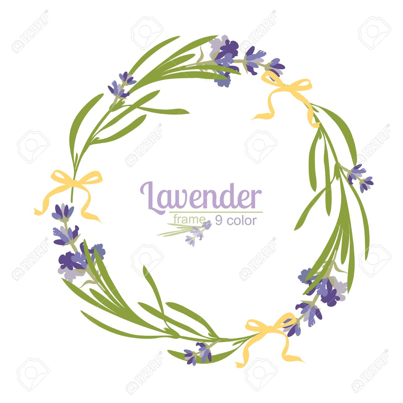 Violet Lavender Beautiful Floral Frames Template In Watercolor ...