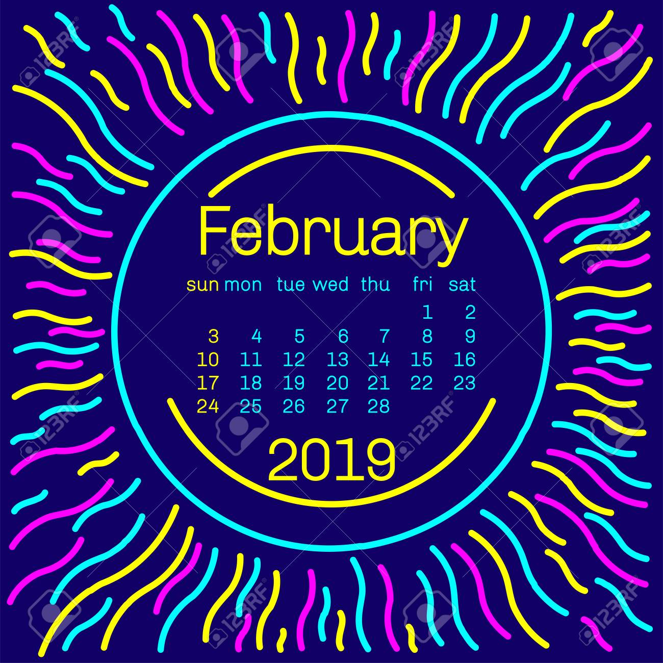 Music Calendar Memphis February 2019 2019. February Calendar Page In Memphis Style Poster For Concept