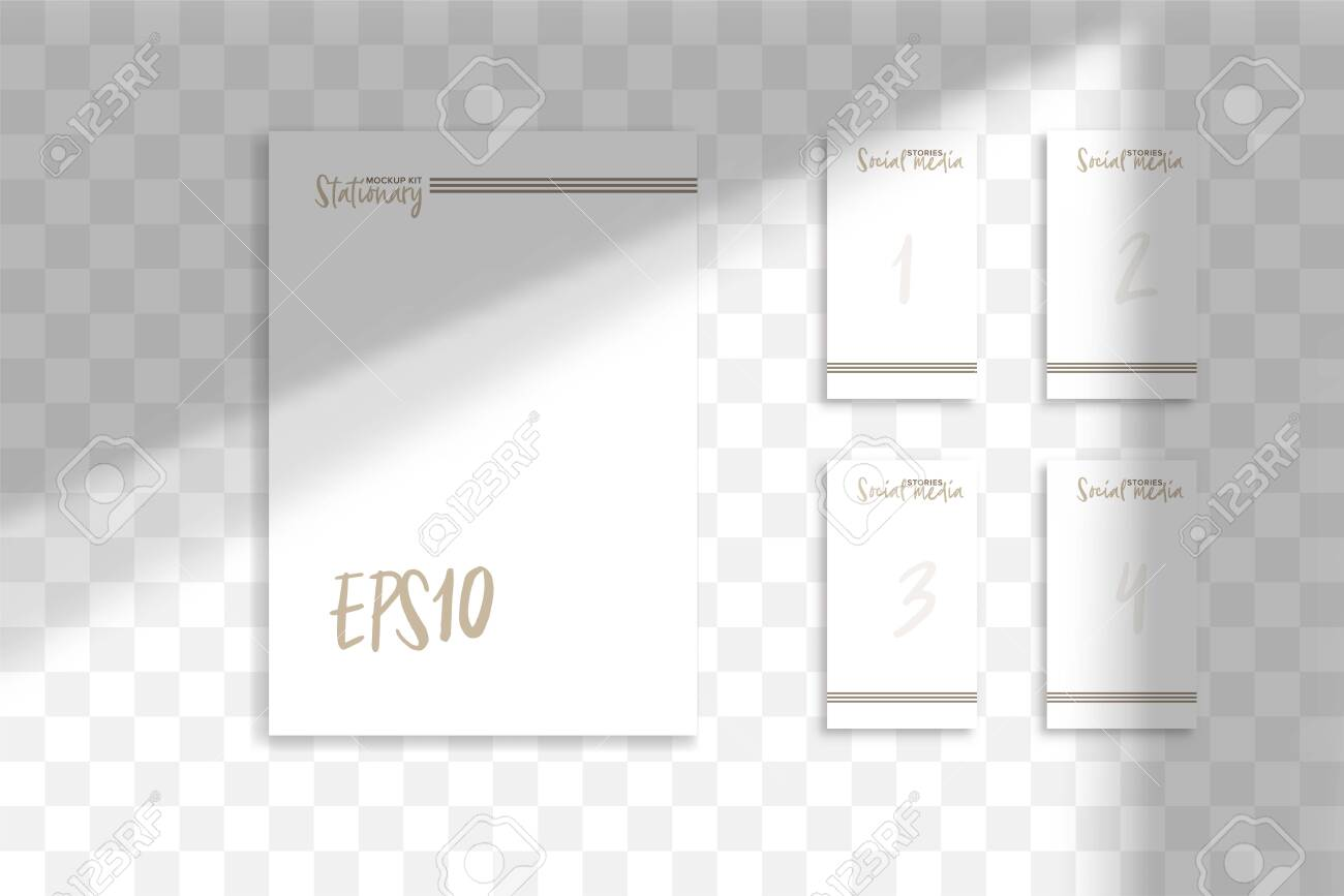 Stationery business branding mockup in realism style with transparent shadow light effect overlay. Mesh grid. Presentation your design card, poster, stories Photo realistic vector illustration - 128398971