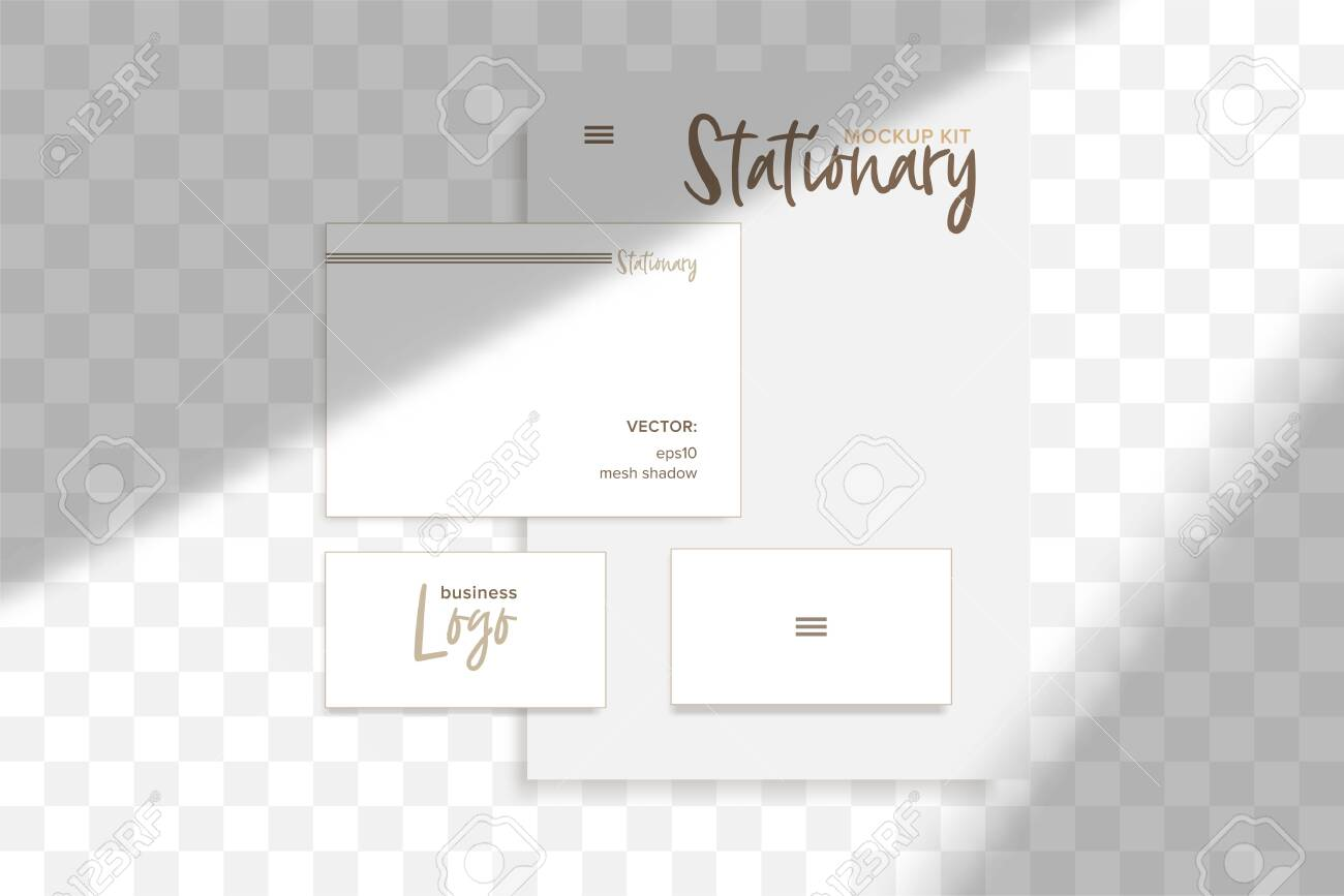 Stationery business branding mockup in realism style with transparent shadow light effect overlay. Mesh grid. Presentation your design card, poster, stories Photo realistic vector illustration - 128398982