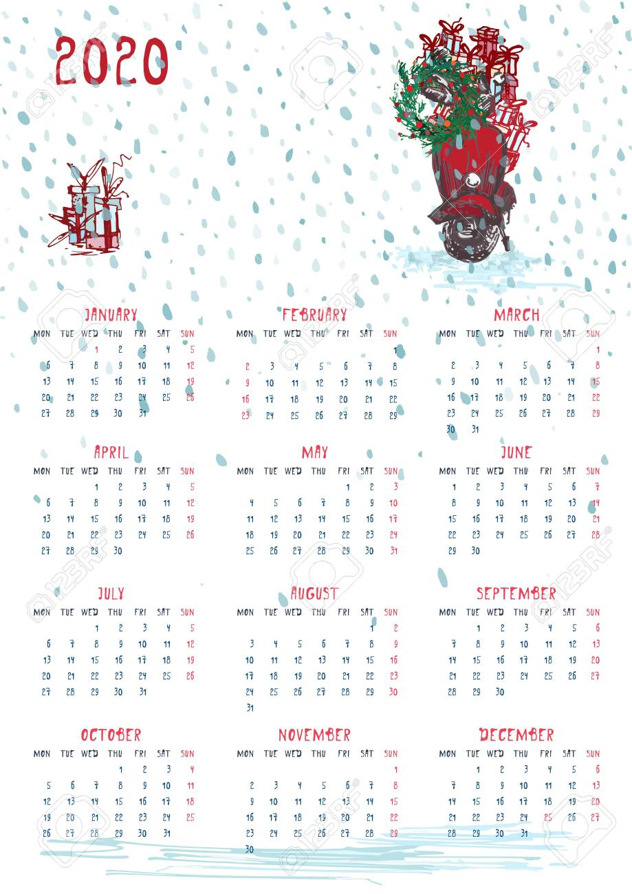 Calendar Christmas 2020 2020 Calendar Planner Whith Red Christmas Car, New Year Tree