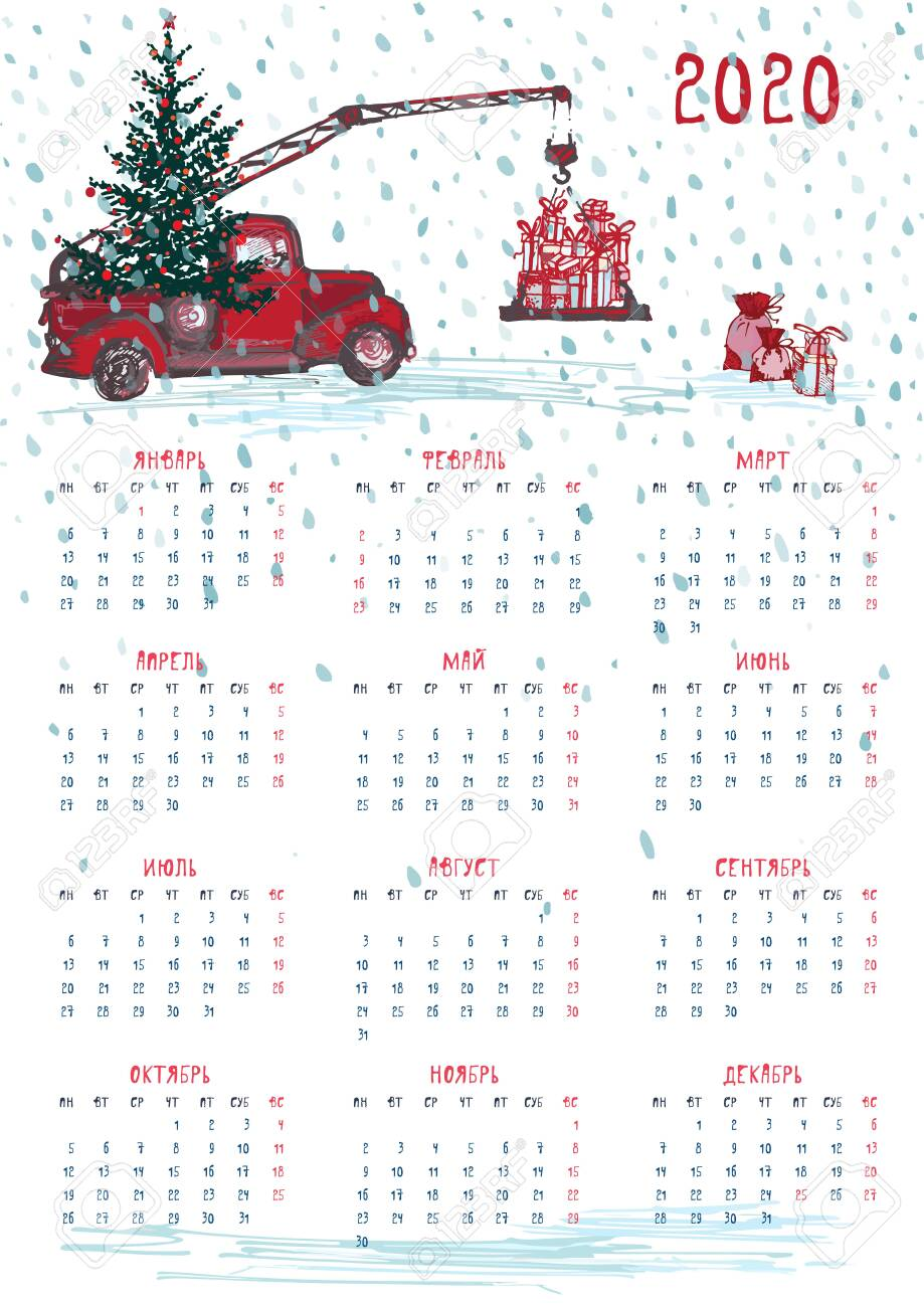 Calendar Christmas 2020 2020 Calendar Planner Whith Red Christmas Tractor, New Year Tree
