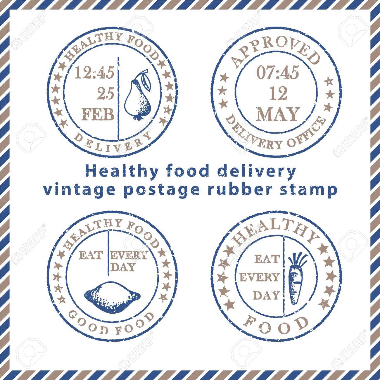 Set of vintage textured grunge food delivery rubber stamps with meal symbols in classic blue and brown colors. For design of post card, advertising poster, web banner, sale flyers Vector illustration - 142358269