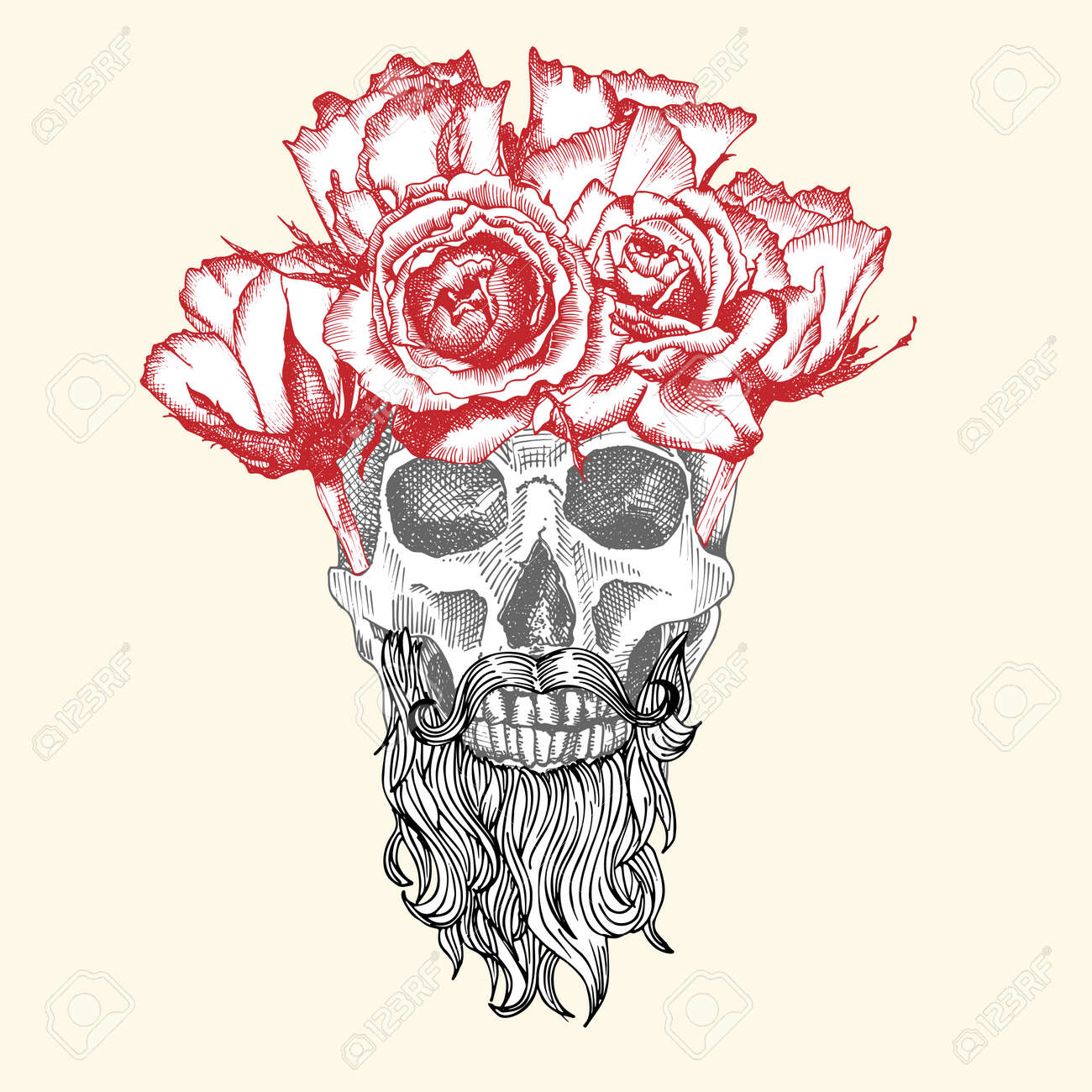 Hand drawn sketch human skull with beard and mustache in wreath of flowers. Red roses Funny character Black graphic Engraving art isolated on white background. Vintage style. Vector - 161481833