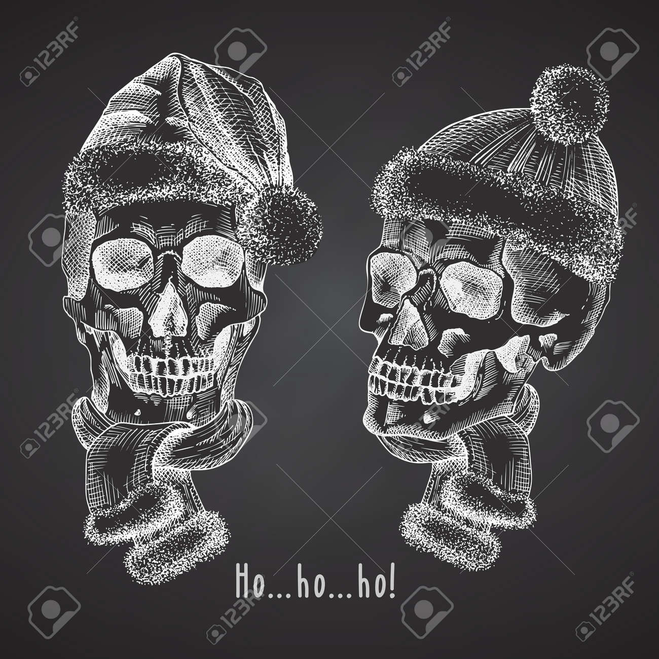 Set Hand drawn sketch human skull with santa hat and fur scarf. Chalk graphic Engraving art isolated on chalkboard background. Alternative Christmas and New Year vintage style. Vector - 160989612