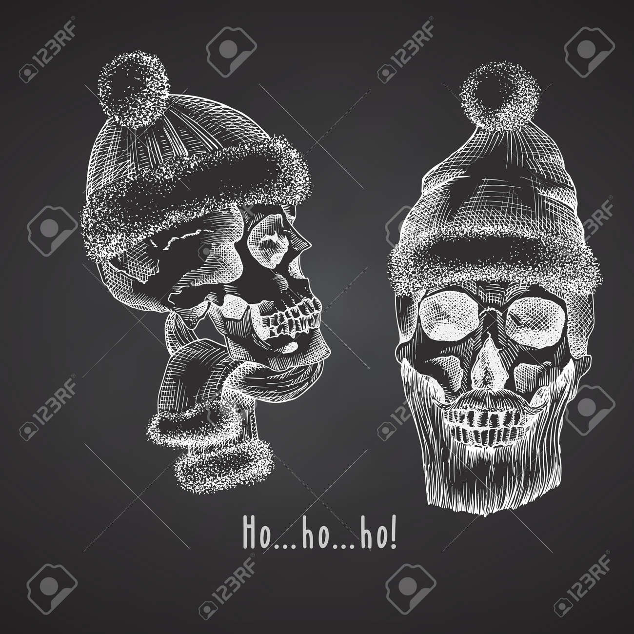 Set Hand drawn sketch human skull with santa hat and fur scarf. Chalk graphic Engraving art isolated on chalkboard background. Alternative Christmas and New Year vintage style. Vector - 160989617