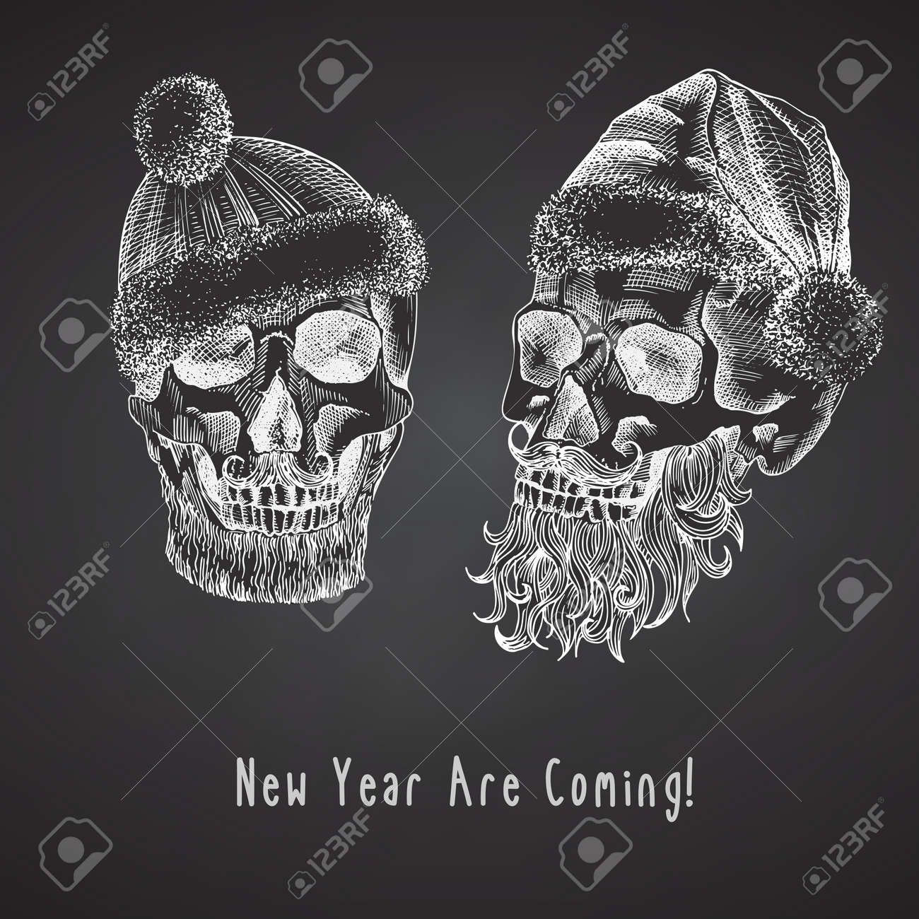 Set Hand drawn sketch human skull with santa hat and fur scarf. Chalk graphic Engraving art isolated on chalkboard background. Alternative Christmas and New Year vintage style. Vector - 160989618