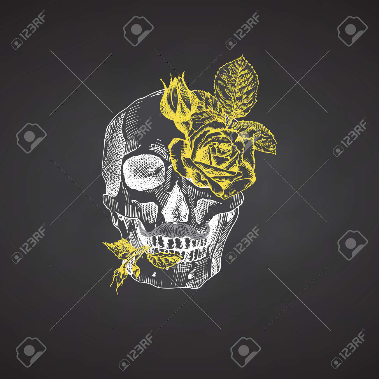 Hand drawn sketch human skull with wreath of flowers. Yellow roses Funny character Chalk graphic Engraving art isolated on chalkboard background. Vintage style. Vector - 161190919