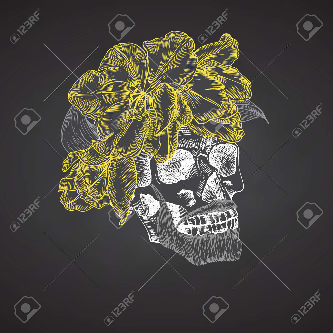 Hand drawn sketch human skull with beard and mustache in wreath of flowers. Yellow tulips Funny character Chalk graphic Engraving art isolated on chalkboard background. Vintage style. Vector - 161190920