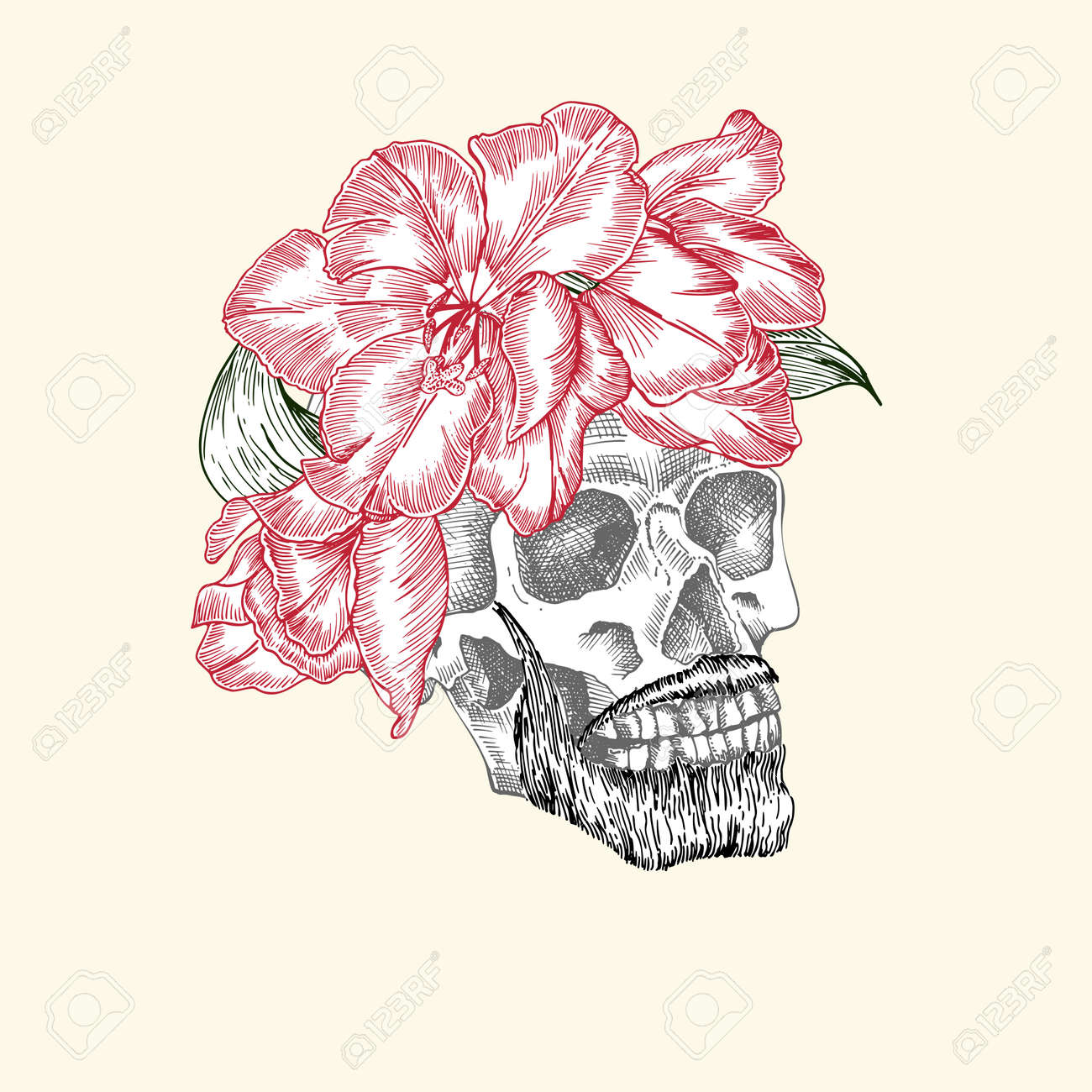 Hand drawn sketch human skull with beard and mustache in wreath of flowers. Red tulip Funny character Black graphic Engraving art isolated on white background. Vintage style. Vector - 161190924